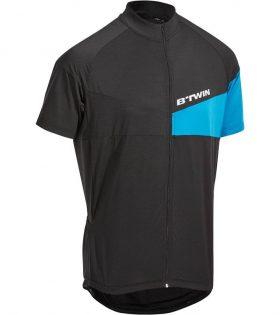 B'TWIN Kısa Kollu Bisiklet Jersey Siyah Mavi